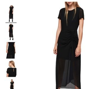 All Saints Black Ariya Midi Dress